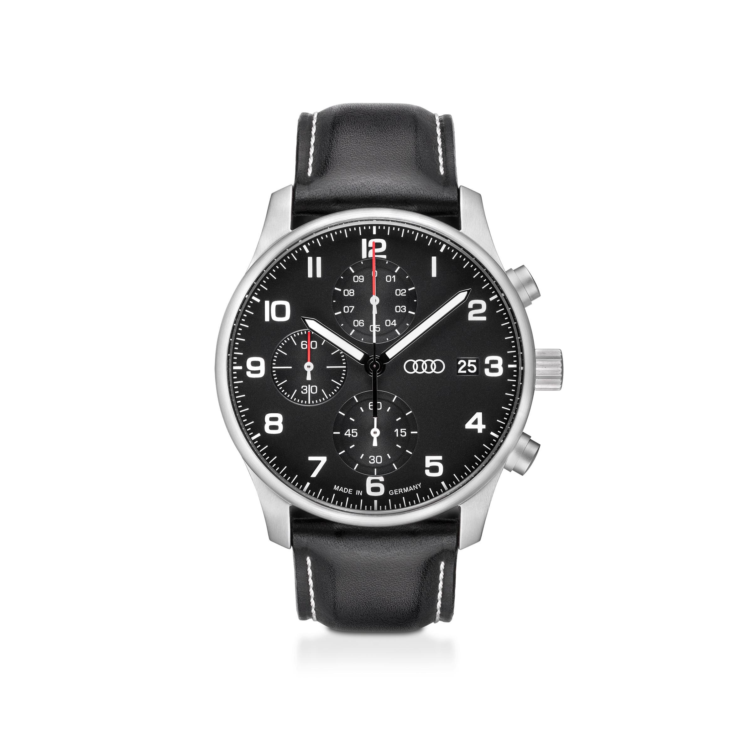 Audi Chronograph, Herren, schwarz/silber