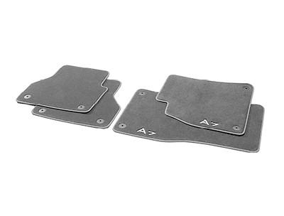 Textilfußmatten Premium für Linkslenker vorn und hinten, schwarz/stahlgrau