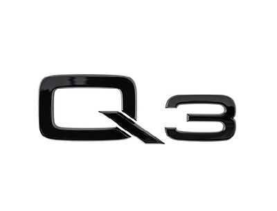 Modellbezeichnung Q3 in Schwarz für das Heck